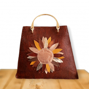 Brown cow leather bag