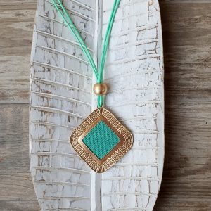 Long aqua green and gold-coloured necklesse